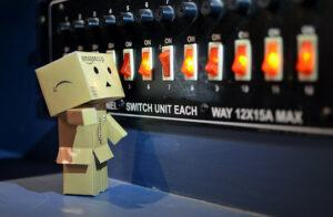 Switchboard and cardboard man