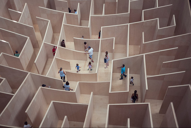 Maze with people in it
