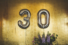 "Balloons spelling ""30"""